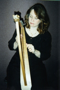 Angie with harp 2000-ish